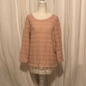 Loft lace and pink top